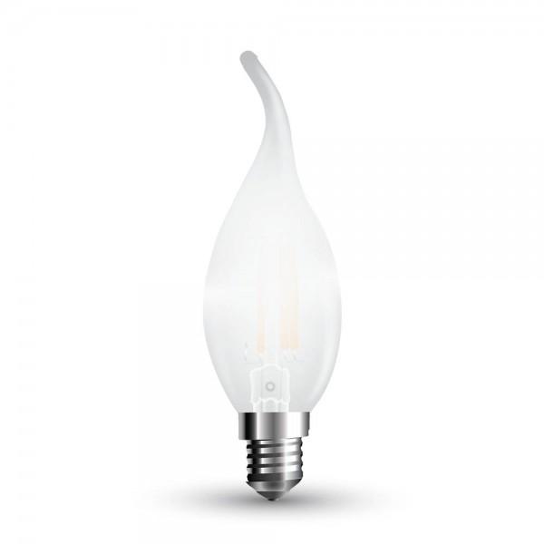 LED Крушка - 4W Filament E14 Матирано Покритие Кендъл Пламък Топло Бяла Светлина Димируема