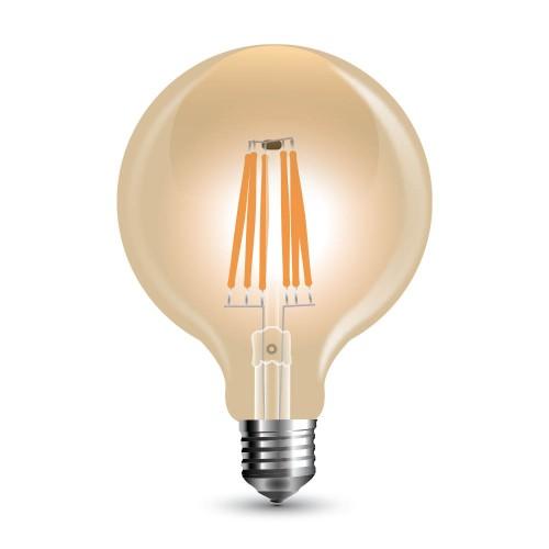 LED Крушка - 8W Filament E27 G125 Amber Топло Бяла Светлина Димируема