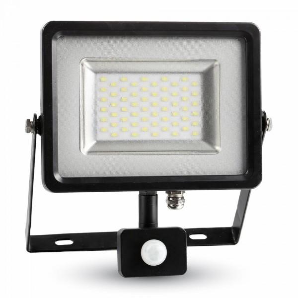 50W LED Прожектор Сензор SMD Черно Тяло